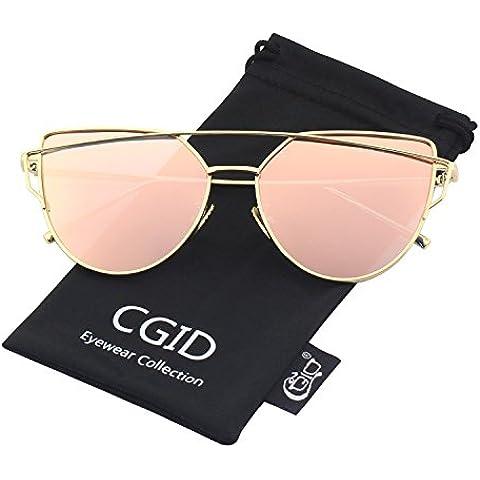 CGID MJ74 Occhiali da Sole Donna Moderni Fashion a Specchio Occhio di Gatto Lenti Polarizzate (Occhiali da sole)