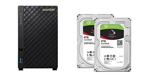 Set bestehend aus zwei Seagate Ironwolf 8 TB NAS optimierten Festplatten mit IHM Technik & Asustor NAS AS3102T