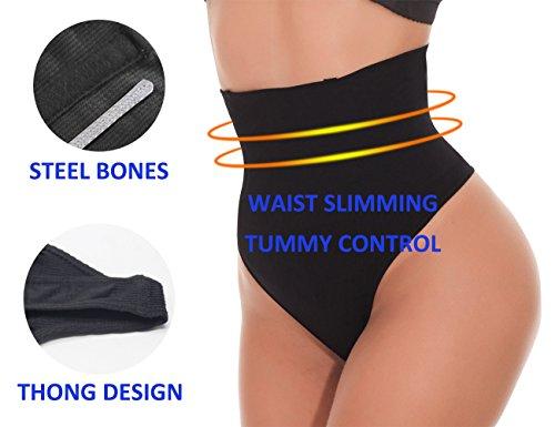 NINGMI Damen Mieder String Tanga Mittlere Taille Miederslip Figurformend Miederhose Shapewear Taillenmieder Body Shaper - 6