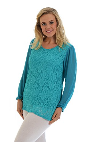 Nouvelle Collection Chiffon Sleeve Lace Top Teal 30-32 (Top Lace Teal)