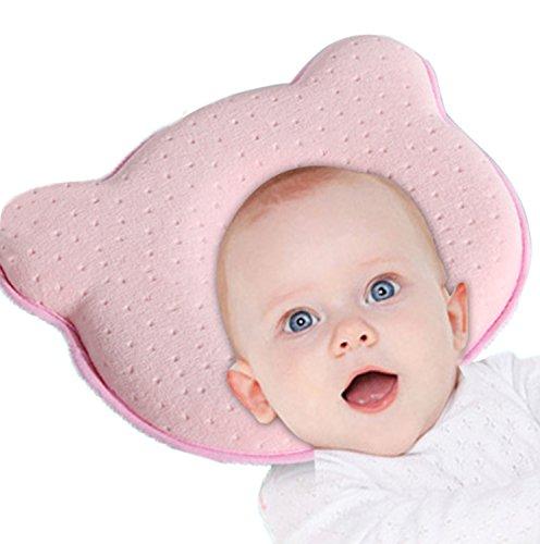 Baby Pillow - Prevención del síndrome de cabeza plana para su bebé recién nacido Evite la almohada transpirable de espuma con memoria de plagiocefalia (Rosa)