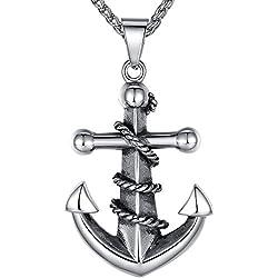 Aoiy - Collar con colgante de hombre de acero inoxidable, Ancla, cadena de 61cm, aap037