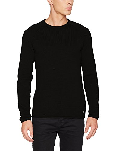JACK & JONES Herren Pullover Jorphil Knit Crew Neck Noos, Schwarz (Black Fit:Knit Fit), Large Knit Cardigan Pullover