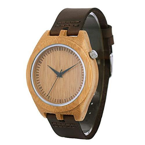 Holz Uhr MäNner Schwarz Lederband Minimalistisches Design LäSsig Japan Quarz Armbanduhr MäNnliche Uhr Geschenk Brown Watch