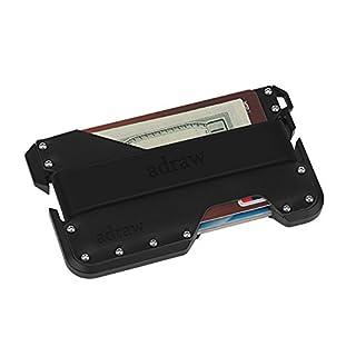 adraw Kreditkartenetui aus Leder und Aluminium | RFID-Blockierend | in Metallbox mit Paracord Band (Jet Black/Schwarz)