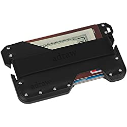 adraw étui pour Cartes de crédit en Cuir et Aluminium | RFID Blocage (Jet Black/Noir)