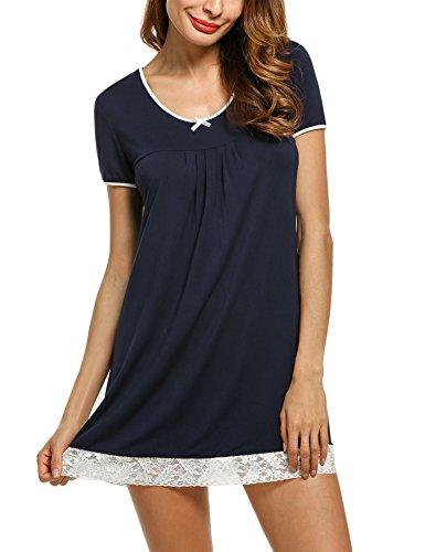 Unibelle Damen Kurzer Ärmel Nachthemd Nachtwäsche Mit Edler Spitzenverzierung Nachtkleid Baumwolle A-Line Navyblau XXL (Kurzarm-nachthemd)