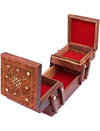 Craftatoz Handicrafts Wooden Jewellery Box for Women | Jewel Organizer Box Hand Carved Carvings, (8 inches) Gift Items