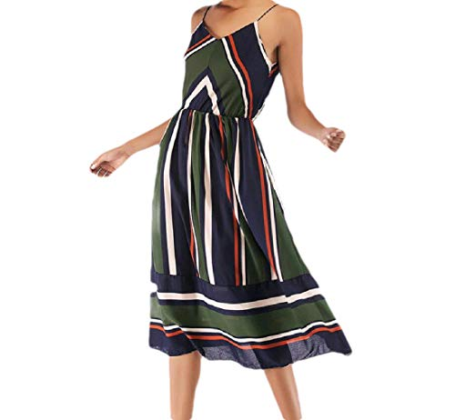 CuteRose Women's V Neck Stripes Chiffon Summer Vacation Beach Wear Tank Dress Army Green XS Beaded Waist Halter Dress