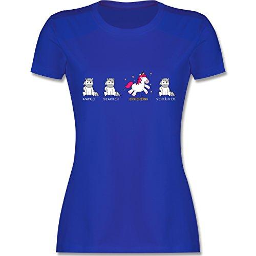 Shirtracer Sonstige Berufe - Erzieherin Einhorn - M - Royalblau - L191 - Damen T-Shirt Rundhals