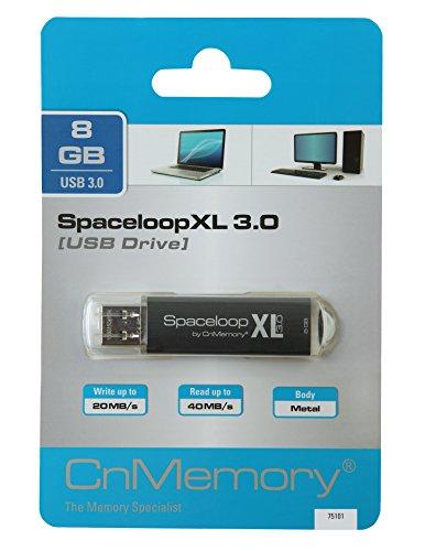 CnMemory 8 GB USB Stick USB 3.0 SpaceloopXL Schwarz