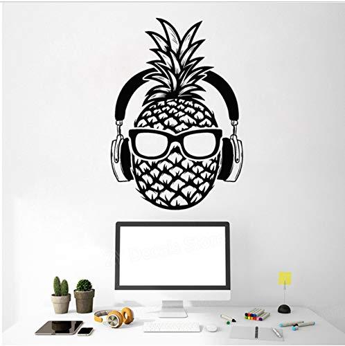 56x81 cm Ananas DJ Vinyl Wandtattoo Kopfhörer Sonnenbrille Teenager Decor Aufkleber Wandhauptdekor Schlafzimmer Spielzimmer