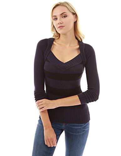PattyBoutik Damen 2 in 1 V-Ausschnitt gerippter Pullover mit langen Ärmeln (dunkelviolett und schwarz 40/M) (Ärmel Gerippte Pullover)