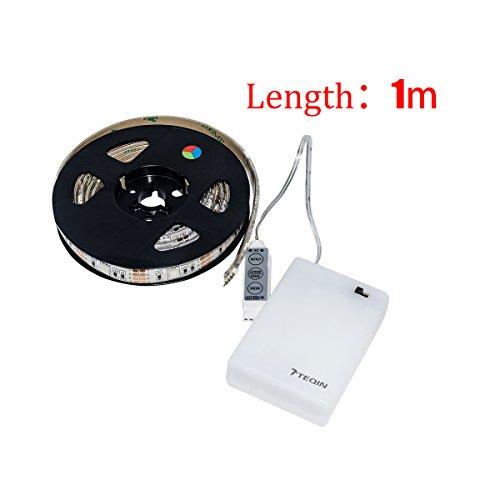 TEQIN 100CM 5050 Wasserfest IP65 RGB LED Streifen Lichter mit Batterie Box Lampe 4.5V für Heim Außenbereich Beleuchtung Handwerk Hobby Licht Dekoration