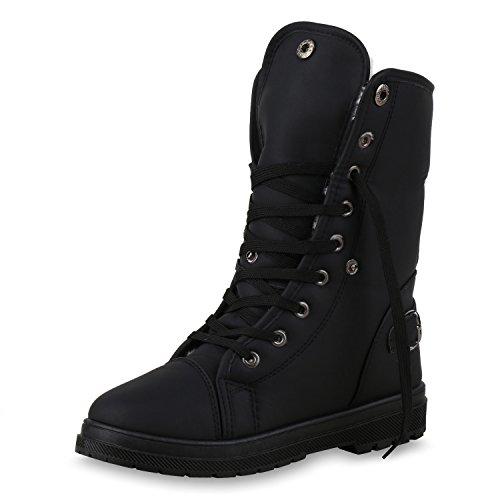 SCARPE VITA Warm Gefütterte Damen Stiefeletten Worker Boots Outdoor Schuhe 150384 Schwarz Schnallen 41