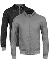 Armani Jeans Grey Eagle Print Hooded Reversible Jacket