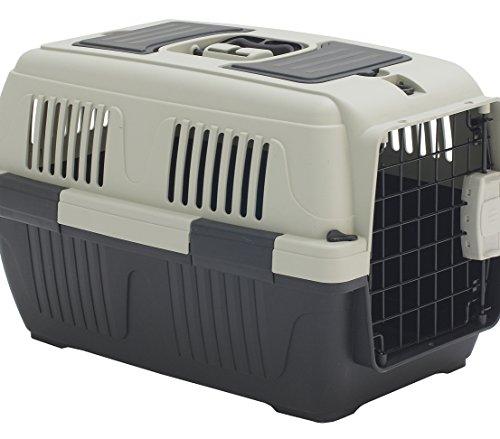 Dehner Transportbox Thilo für Hund oder Katze, ca. 57 x 37 x 35 cm, Kunststoff, grau/grün