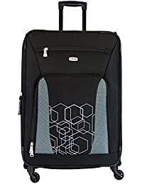 Timus Morocco Spinner Black 75 Cm 4 Wheel Strolley Suitcase For Travel (Large Check In Luggage)