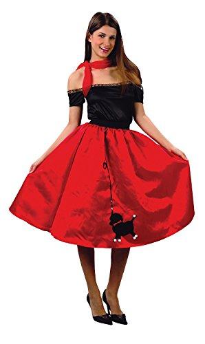 Damen-Kostüm, 50er-Jahre-Stil, Pudel-Rock und Schal, Gr. (Rote Pudel Rock Kostüm)