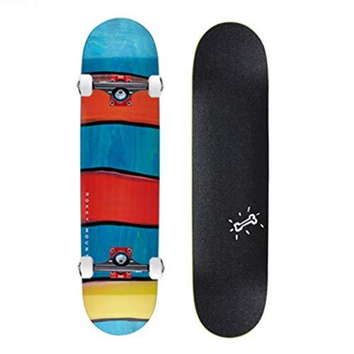 Skateboards 13cm Planche Professionnelle Qualité Bois D'érable Bleu Double Bascule 4 Roues Planche Courte Débutant Pinceau Rue Voyage Planche À roulettes (Color : Blue, Size : 80 * 20 * 13cm)
