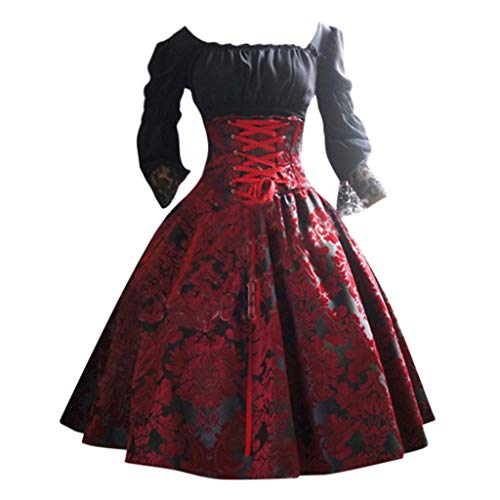 Lazzboy Frauen Vintage Gothic Court Square Kragen Patchwork Prinzessin Kleid Piratin Kostüm Beauty Mary Für Damen Piraten Karneval(Rot,5XL) (Piraten Kostüm Verleih)