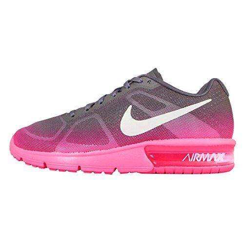 Nike Wmns Air Max Sequent, Scarpe sportive, Donna HYPER Rosa/white-mtlc scuro grigio