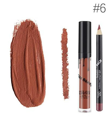 Kiss Beauty Matte Liquid Lipgloss Lipstick and Lip Liner (Shade 6)
