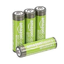 AmazonBasics - Batterie AA ricaricabili, ad alta capacità, pre-caricate, confezione da 4 (l'aspetto potrebbe variare dall'immagine)