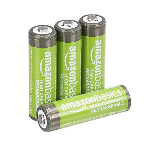 AmazonBasics Pile Ricaricabili Stilo AA ad alta capacità pre caricate 4 pezzi durata di 500 cicli . Involucro esterno variabile