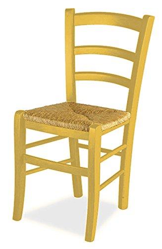 Set 2 sedie venezia - anilina gialla sedile paglia
