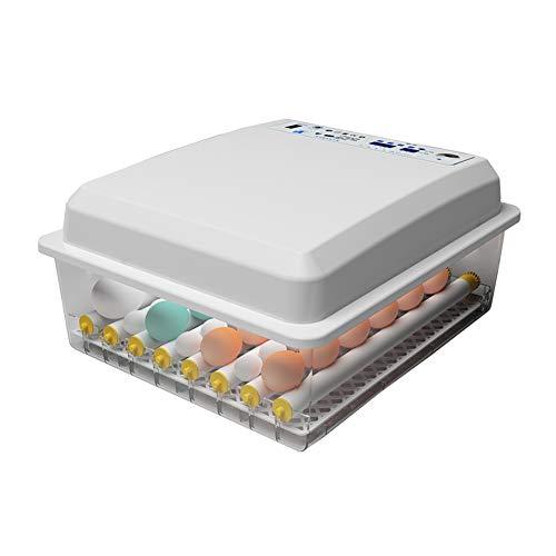 KSWD 24/30/36/42 Eier Inkubator, Brutkasten Brutapparat Mini Automatik Transparent Einstellbare Eierablage Dual Power Weiß, 39 x 33 x 19 cm,24