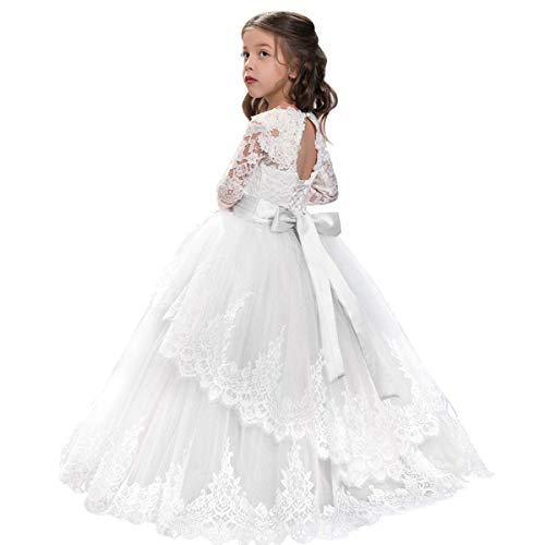 OBEEII Festlich Mädchen Kleid für Kinder Prinzessin Spitzen Kleider Hochzeit Blumenmädchenkleid Jugendweihe 4-5 Jahre Weiß