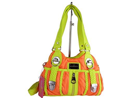 ALINA AKW19145, kleine Handtasche, diverse Fächer, Schultergurt, Schultertasche 26x17x10cm (gelb / blau) orange / gelb