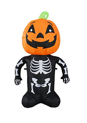 JF deco 1.2m Aufblasbar Halloween Dekoration Beleuchtete Sensenmann Skeleton Kürbis Aufblasbare Dekorationen deko drinnen draußen für zu Hause Rasen Garten Hof