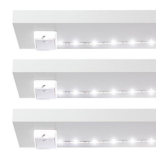 Luminoodle Click - innovative LED Unterbauleuchte - 3 x 1 m Set - inkl. Batterien - Lichtleiste für Schrank, Vorratskammer, Küche, Bad - selbstklebender LED Strip - tageslichtweiß - kabellos