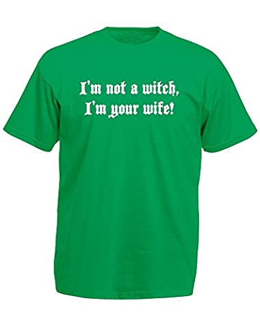 I'm Not A Witch, I'm Your Wife!, Imprimé des hommes T-shirt - Kelly Green/White 2XL