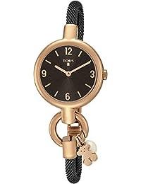 Reloj TOUS Hold Charms de acero IP rosado con correa de acero IP negra Ref: