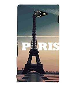 Cloud, Black, Road, Tower, Printed Designer Back Case Cover for Sony Xperia M2 Dual :: Sony Xperia M2 Dual D2302