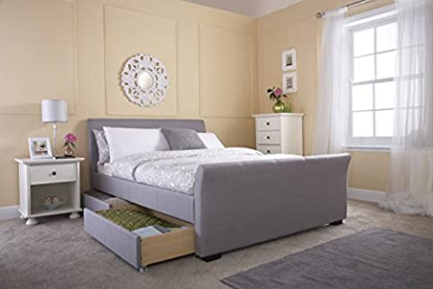 Hannover 5ft King Size 4 Drawer Storage Bed - Silver Hopsack Fabric