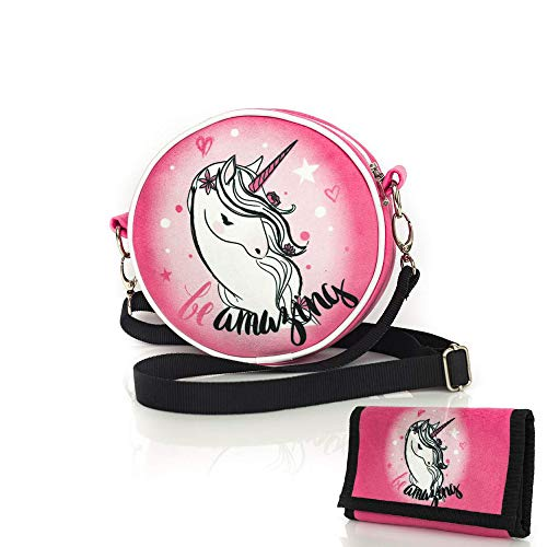 Diamond Unicorn Collection Einhorn einzigartig Runde Schultertasche/Eine Handtasche mit Einer Einhorn-Brieftasche/Quality Made in Europe 2018