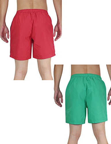 (Pack of 2) Mens Surf & Skate Boardshort with Brief Lining Green & Red