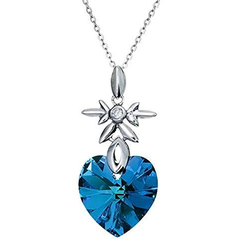 Con cristalli Swarovski Elements a forma di cuore dell'oceano, colore: blu con pendente, in argento placcato rodio collana regolabile, lunghezza 40,64 cm (16