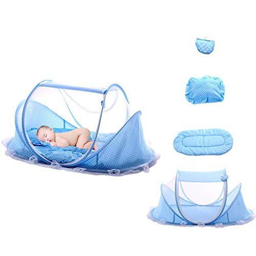 ZUJI Baby Reisebett Faltbar Babyzelt Anti Mosquito Reisebett mit Insektennetze, Polster, Kissen und Musikpaket (Blau)