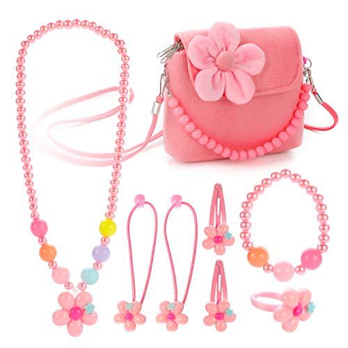 Hifot Kinderschmuck Kleine Mädchen Plüsch-Handtasche Halskette Armband Ring Haar Klammern Einstellen Set, Modeschmuck Party Favors Geschenk zum Anziehen Pretend Play