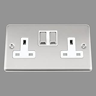 AET CSC2GSOCWS Satin Chrome Classical 2 Gang White Insert Metal Rocker Switches-13 Amp Double Plug Socket