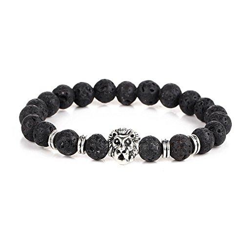Akki Herren Perlen Armband Beads leopard Löwe kopf Schmuck für Männer und damen 8mm Perlen Armband bänder Tibetan Buddhist instagram Facebook 100130 Cartier Liebe Armband Weiß Mit Gold