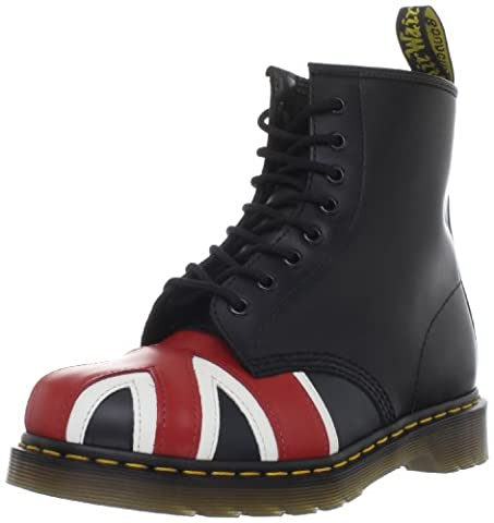 Dr. Martens Union Jack 8 Eye Boot, Boots mixte adulte - Noir (Black Smooth), 37 EU (4 UK)