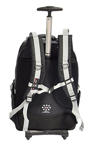 Kabine Rucksack Mit Rädern Wandern Trekking Camping Tasche H081 Schwarz/ Grau