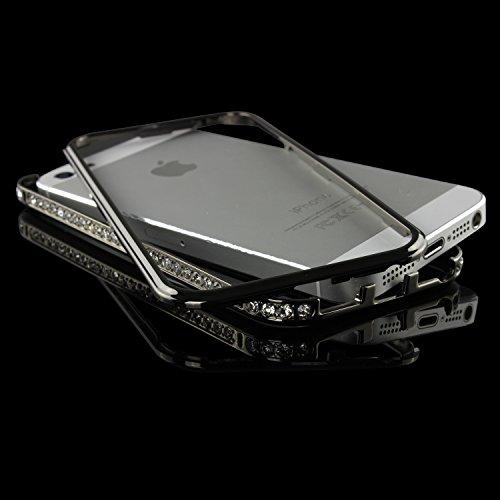 URCOVER® Cadre de Métal Glittery en Aluminium - Coque Strass Scintillantes | Apple iPhone 5 / 5S | Metal - ALU in Noir / Gris | Housse Case Cover Pailleté Faux Diamant Noir / Gris