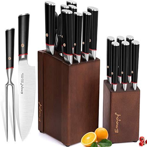 Emojoy Ceppo Coltelli, Set di coltelli Professionali 16 Pezzi, Coltelli da Cucina Set Acciaio con 2...